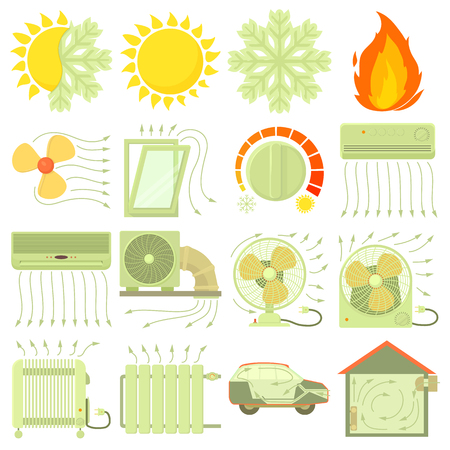 Heat cool air flow tools icons set, cartoon style