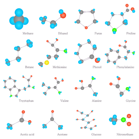 proline: Molecules substances icons set, flat style