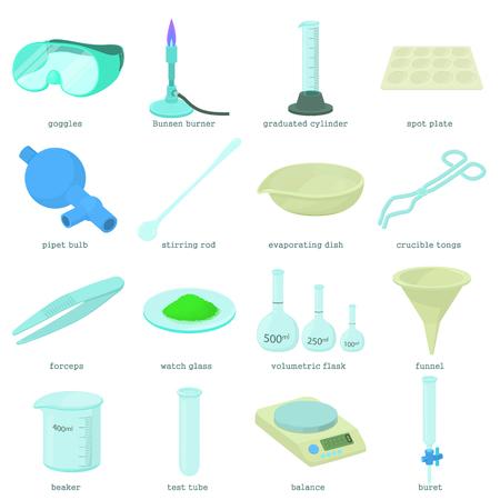 Ensemble d'icônes d'outils de laboratoire chimique, style cartoon Banque d'images - 77974140