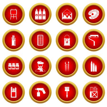 paint can: Painting icon red circle set
