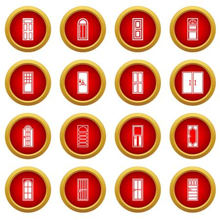 privat: Door icon red circle set