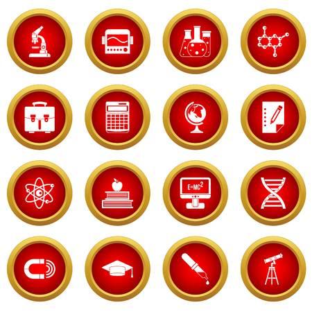 Education icon red circle set