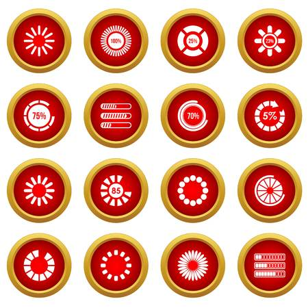 Loading bars and preloaders icon red circle set