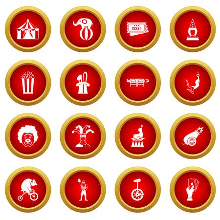 Circus entertainment icon red circle set isolated on white background