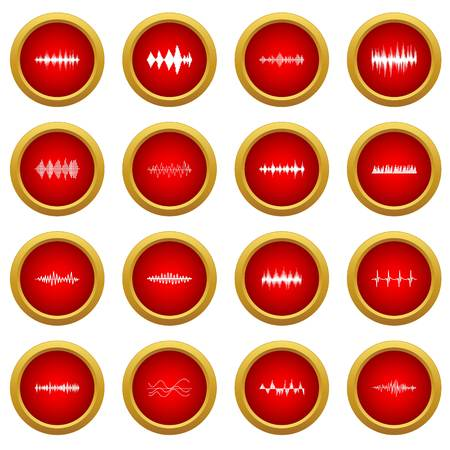 Sound wave icon red circle set isolated on white background