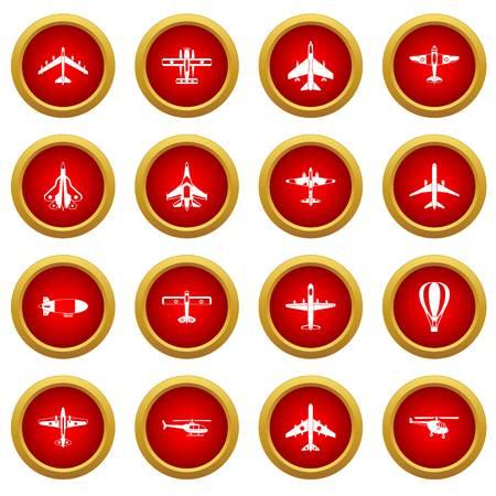 Jeu de cercle rouge icône aviation isolé sur fond blanc