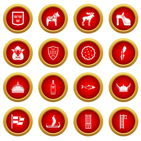Sweden travel icon red circle set isolated on white background