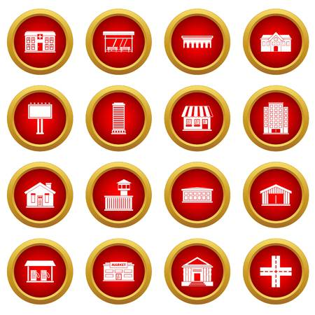 City infrastructure items icon red circle set isolated on white background