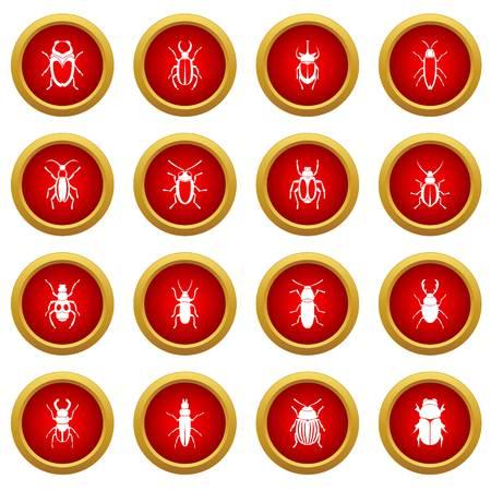 Ensemble de cercle rouge d'insectes bugs isolé sur fond blanc Banque d'images - 78084373