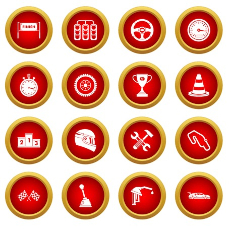Racing speed icon red circle set isolated on white background