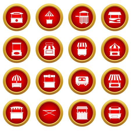Street food truck icon red circle set isolated on white background
