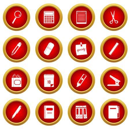 Stationery symbols icon red circle set isolated on white background