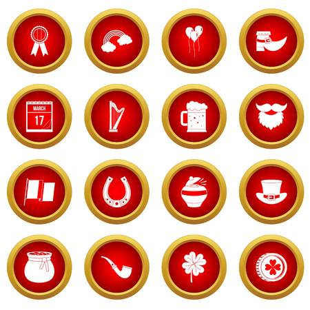 gold buckle: Saint Patrick icon red circle set isolated on white background Illustration