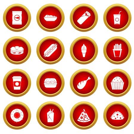 Conjunto de círculo rojo icono de comida rápida aislado sobre fondo blanco Foto de archivo - 78085081