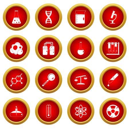 Icono de laboratorio químico círculo rojo conjunto aislado sobre fondo blanco