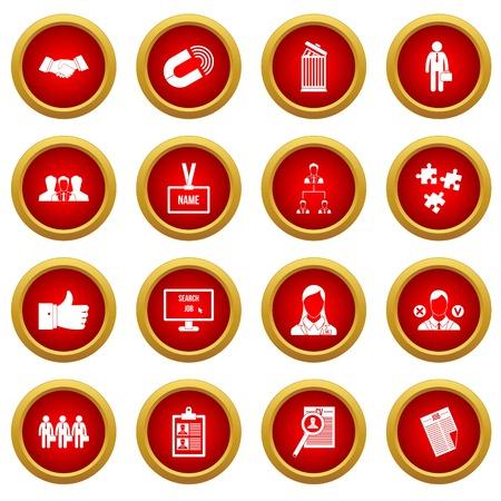 Menselijke resource management pictogram rode cirkel set geïsoleerd op een witte achtergrond