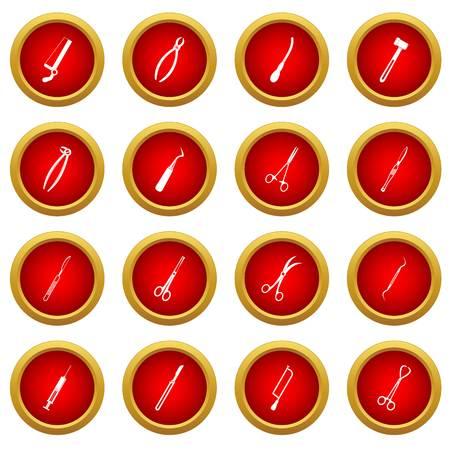 Surgeons tools icon red circle set isolated on white background Illustration