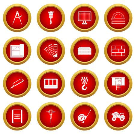 cutter: Construction icon red circle set isolated on white background