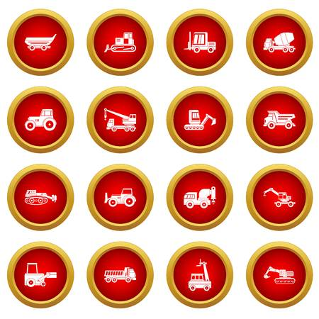 compact track loader: Building vehicles icon red circle set isolated on white background