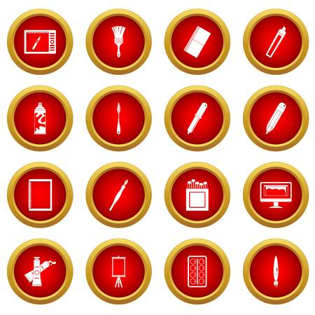 pen and marker: Design and drawing tools set. Simple illustration of 16 design and drawing tools vector icon red circle set isolated on white background