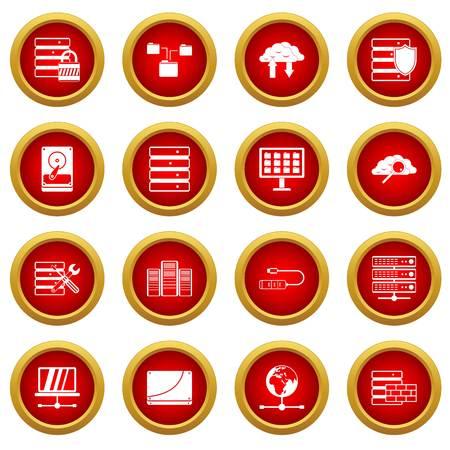 Database icon red circle set isolated on white background