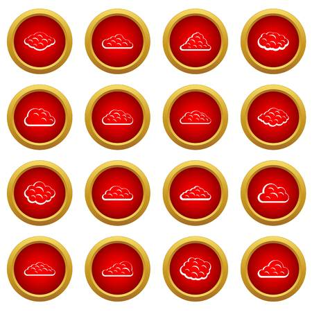 Clouds icon red circle set isolated on white background Illustration