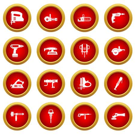 sander: Electric tools icon red circle set isolated on white background