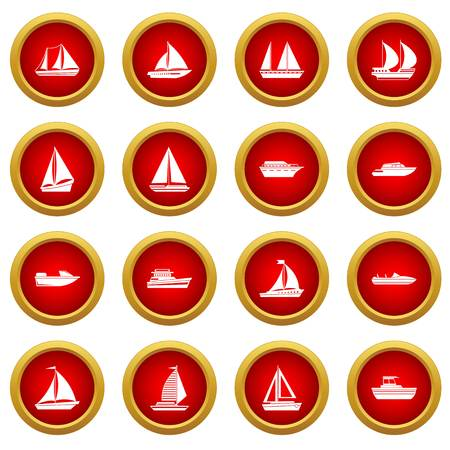 Boat and ship icon red circle set isolated on white background