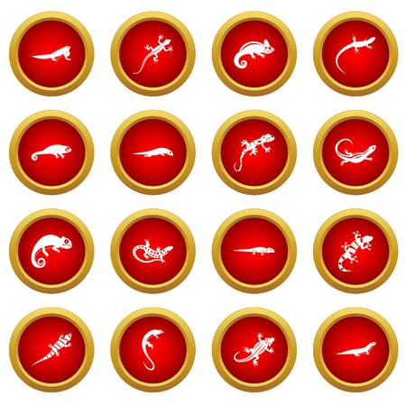 Lizard icon red circle set isolated on white background