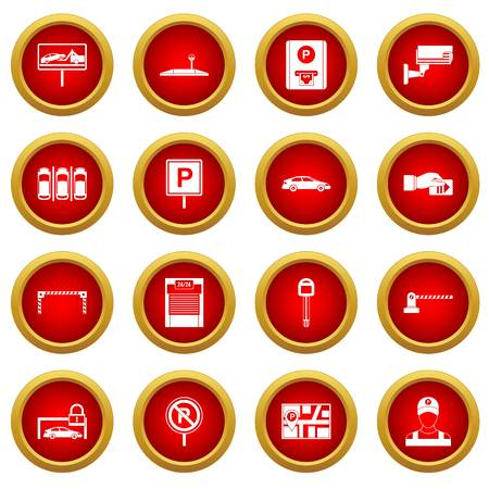 traffic warden: Car parking icon red circle set isolated on white background