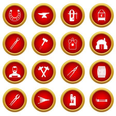 Blacksmith icon red circle set isolated on white background Illustration