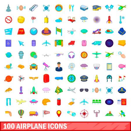 100 airplane icons set, cartoon style