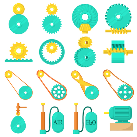 Moving mechanisms icons set, cartoon style
