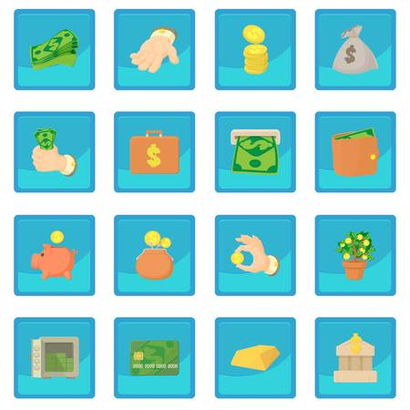 handful: Kinds of money icon blue app