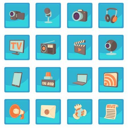 laptop: Media communications icon blue app Illustration