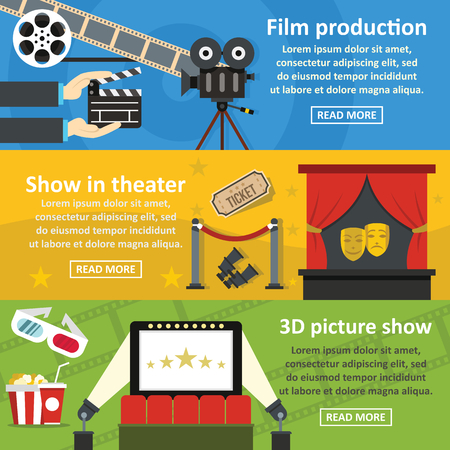 movie film: Film production banner horizontal set, flat style