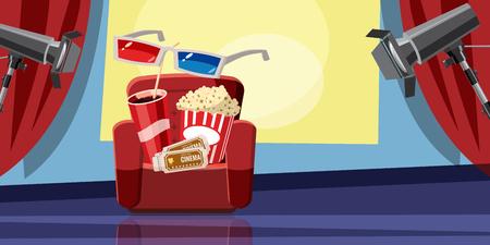 movie film: Cinema movie corn icons set, cartoon style Illustration