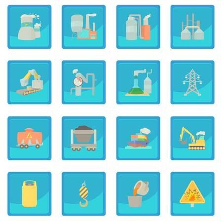 cooling tower: Industrial symbols icon blue app