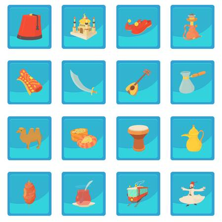 Turkey travel symbols icon blue app