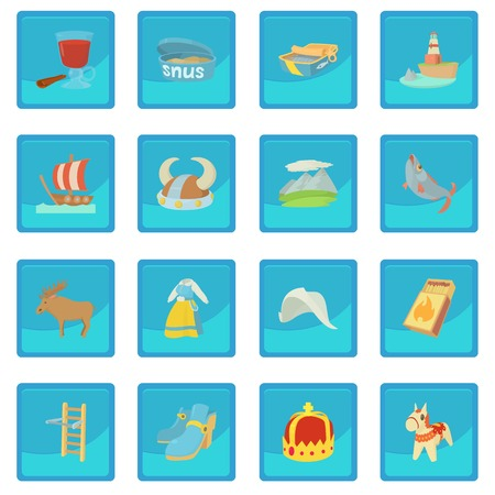 Sweden travel symbols icon blue app Illustration