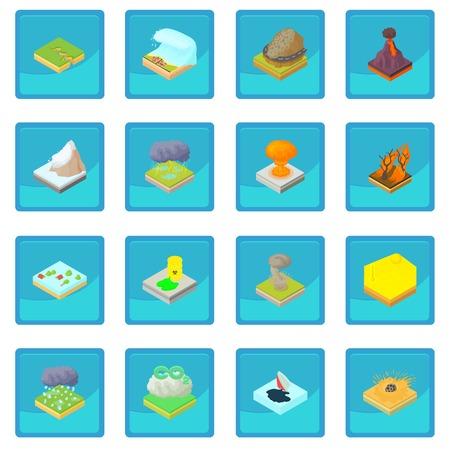 disaster: Natural disaster icon blue app Illustration