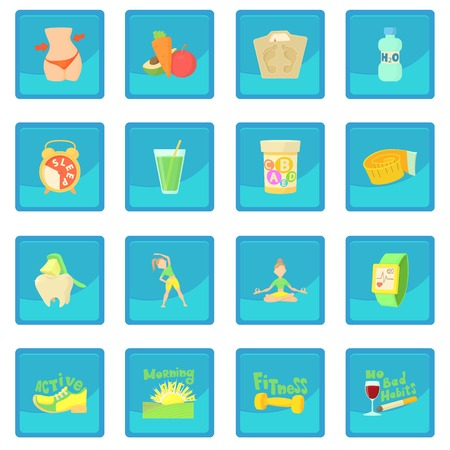 Healthy lifestyle icon blue app