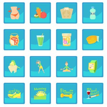 Icône de mode de vie sain, application bleue Banque d'images - 78106908