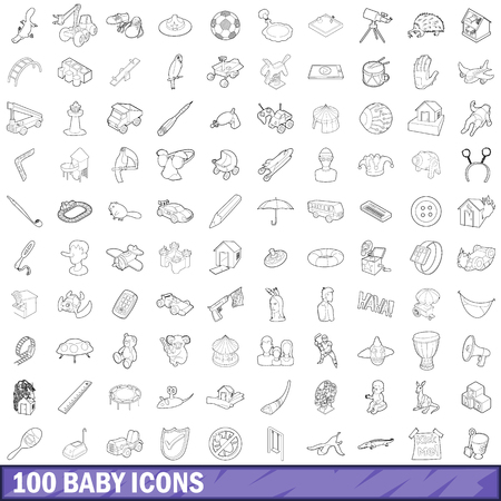 cute bear: 100 baby icons set in outline style for any design vector illustration