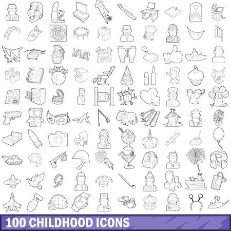 100 childhood icons set in outline style for any design vector illustration Ilustração