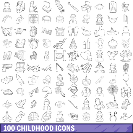 100 childhood icons set in outline style for any design vector illustration Illustration