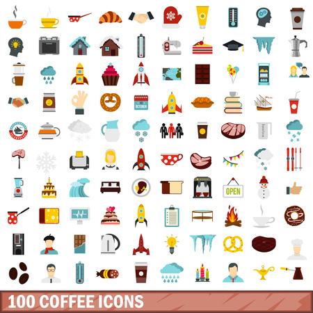 모든 디자인 벡터 일러스트 레이 션에 대 한 플랫 스타일에서 100 커피 아이콘 설정