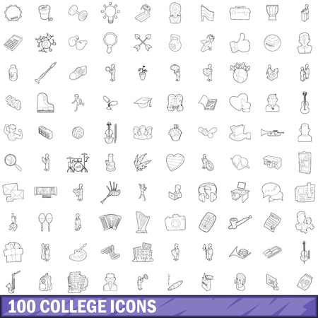 bong: 100 college icons set in outline style for any design vector illustration