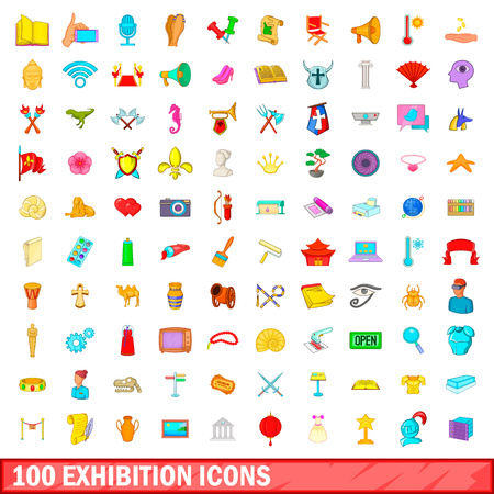 100 exhibition icons set, cartoon style