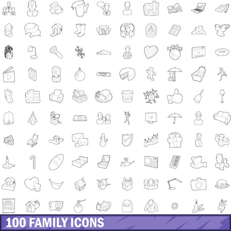 100 family icons set, outline style Illustration